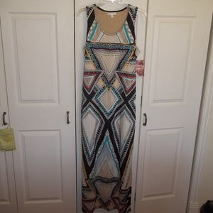 NWT Love, Fire Tribal Maxi Dress Size L